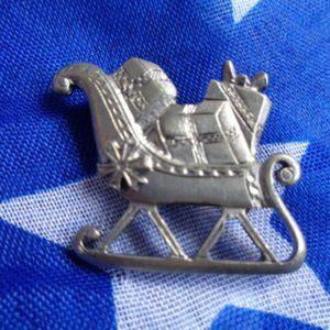 Silver Tone Santa Sleigh Brooch pin pendant